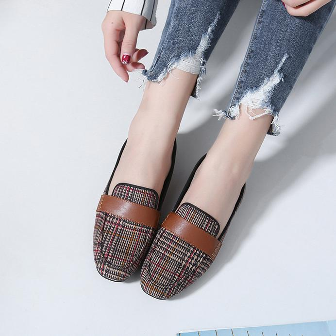 OBBVY-Square Square Flat Shoes