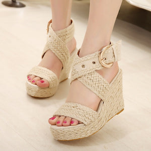 OBBVY-Straw Wedge Sandals