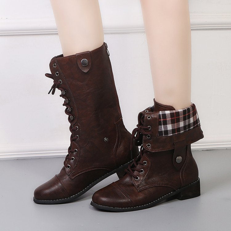 OBBVY-Round Head Low Heel Tie Boots