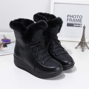 OBBVY-Lace-up Booties Warm Snow Boots Wedge Shoes