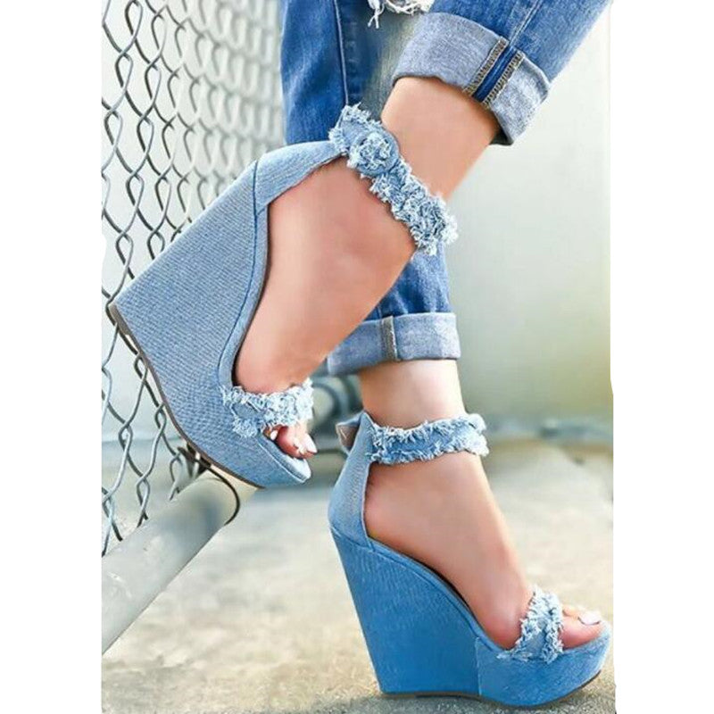 OBBVY-Denim Raw Buckle Wedge