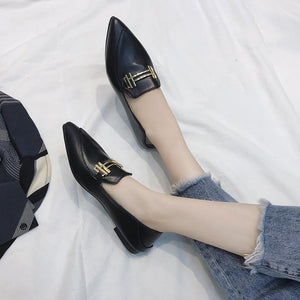 OBBVY-Pointed Flat Loafers