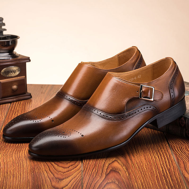 OBBVY-Hand-carved Buckle Business Shoes British Style Brock Loafers Size US6-13.5/EU38-48