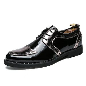 OBBVY-Glossy Leather Shoes Patent Loafers Size US6.5-13.5