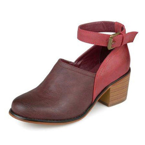 OBBVY-Color Matching Rough Heel Shoes