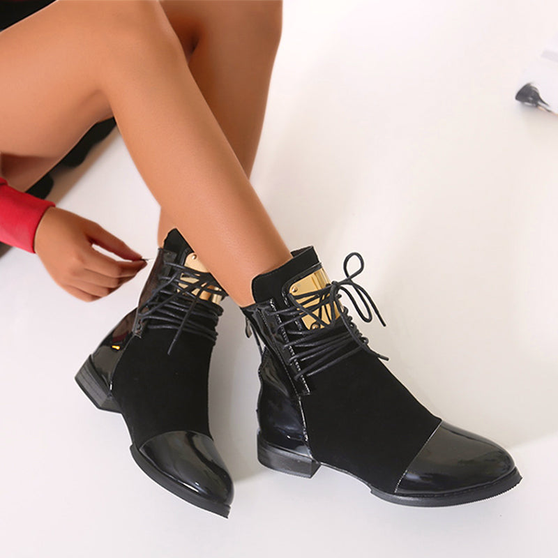 OBBVY-Shoelace Martin Boots Leather Velvet Booties