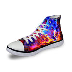 OBBVY-High-top Canvas Shoes Front Lace-up Casual Shoes Star Print Canvas Sneaker Couple Shoes