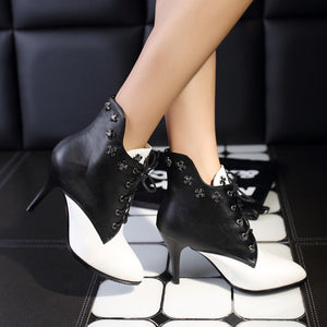 OBBVY-Color Matching Stiletto Boots Rivet High Heels Shoelace Shoes