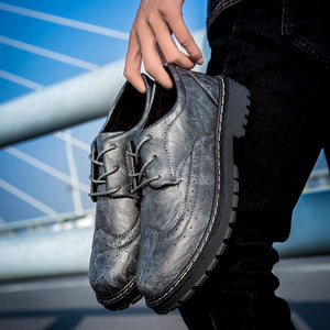 OBBVY-British Style Perforated Breathable Leather Shoes
