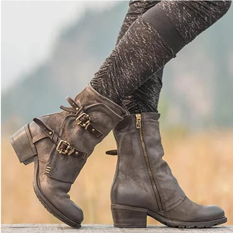 OBBVY-Retro Belt Buckle Ankle Boots