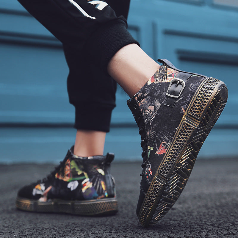OBBVY-Graffiti High-top Shoes