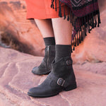OBBVY-Low Heel Belt Buckle Boots Retro Bootes Size US4.5-10.5