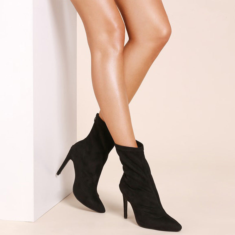 OBBVY-Sexy Suede Pointed Stiletto Booties