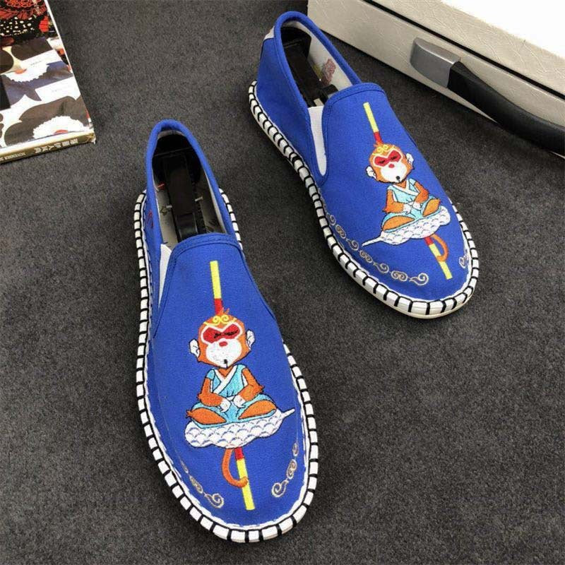 OBBVY-Handmade Painted Men's Retro Pattern Loafers Soft Breathable