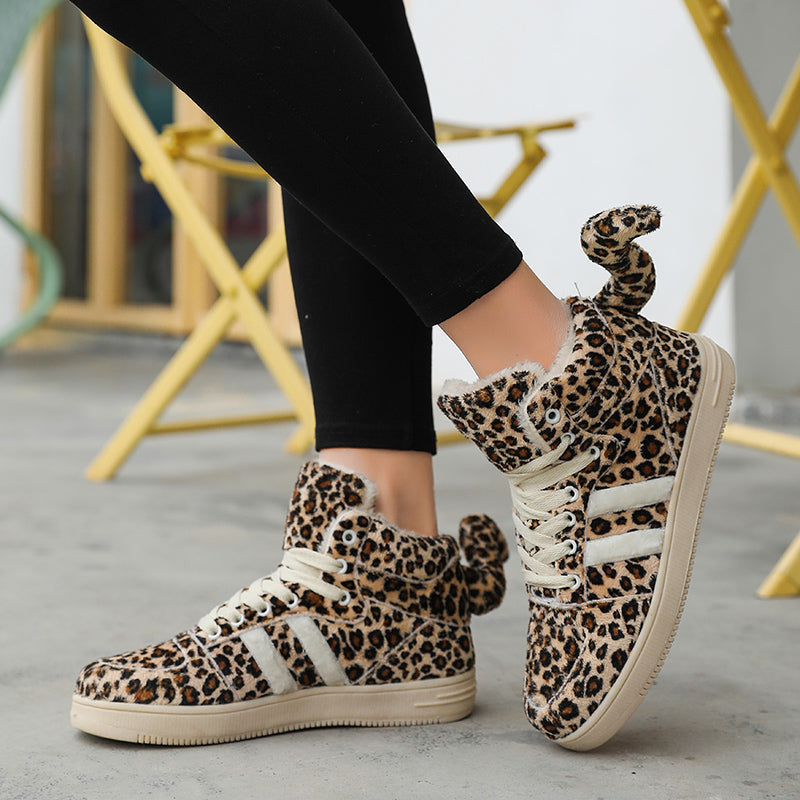 OBBVY-Leopard Print High-top Casual Shoes Cute Tail Ladies Shoes