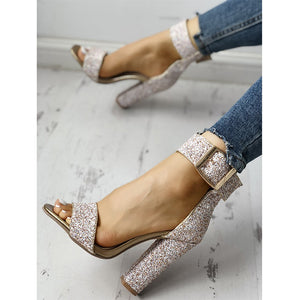 OBBVY-Sequined High Heels
