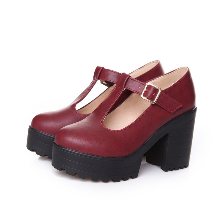 OBBVY-Thick Platform High Heels Wedge Shoes Size US4-12/EU34-46