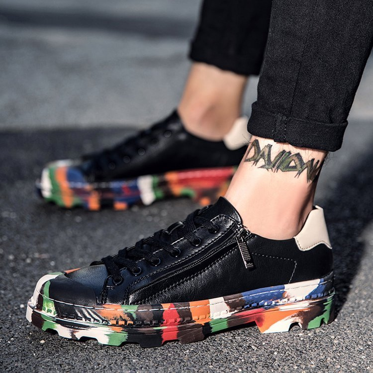 OBBVY-New Personality Graffiti Low-top Shoes Side Zipper Street Dance Casual