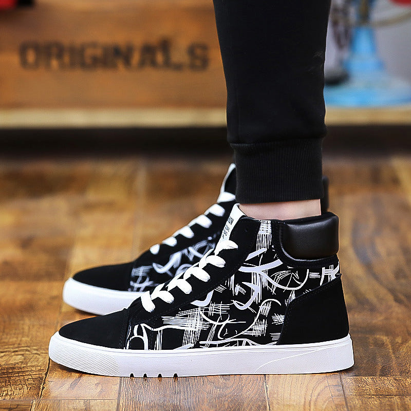 OBBVY-Men's High-top Trend Sneakers Casual Canvas Shoes Cool Pattern Shoes