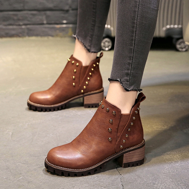 OBBVY-Women Rivets Ankle Boots Casual Boots