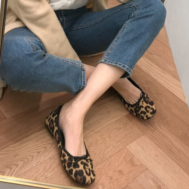OBBVY-Women's Leopard Flat Round Head Shallow Mouth Shoes