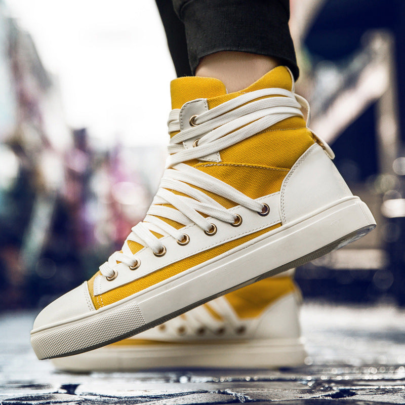 OBBVY-High-top Lace-up Shoes Fashion Casual Men's Shoes Trend Sneakers
