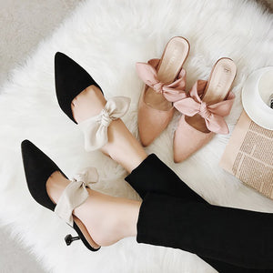 OBBVY-Pointed Bow Mule Shoes