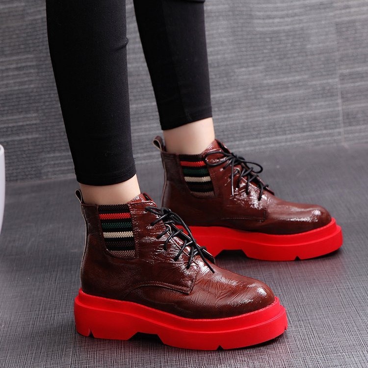 OBBVY-Patent Leather Wedges Lace-up Casual Shoes Booties Motorcycle Boots Martin Boots