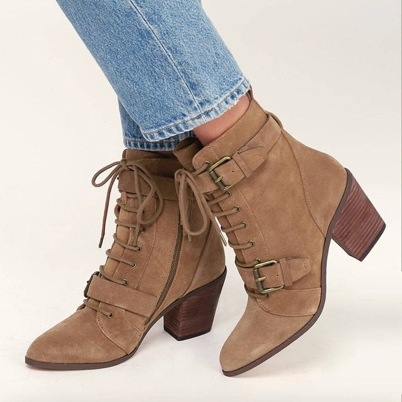 OBBVY-Belt Buckle Thick Heel Booties