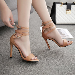 OBBVY-Cross Strap High Heels
