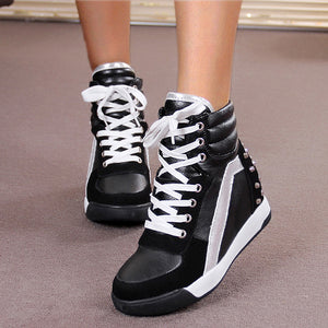 OBBVY-High Heel Sneakers Wedges Heightening Shoes