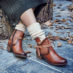 OBBVY-Lace-up Low Heel Booties Size US4.5-10.5/EU34-43