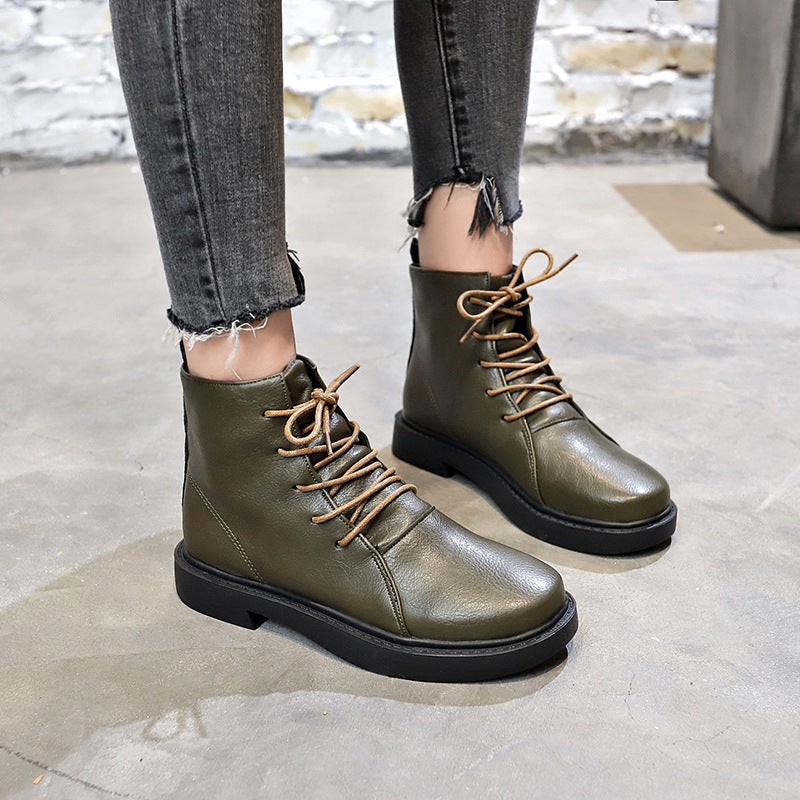 OBBVY-Round Toe Box Lace-up Booties Fashion Martin Boots