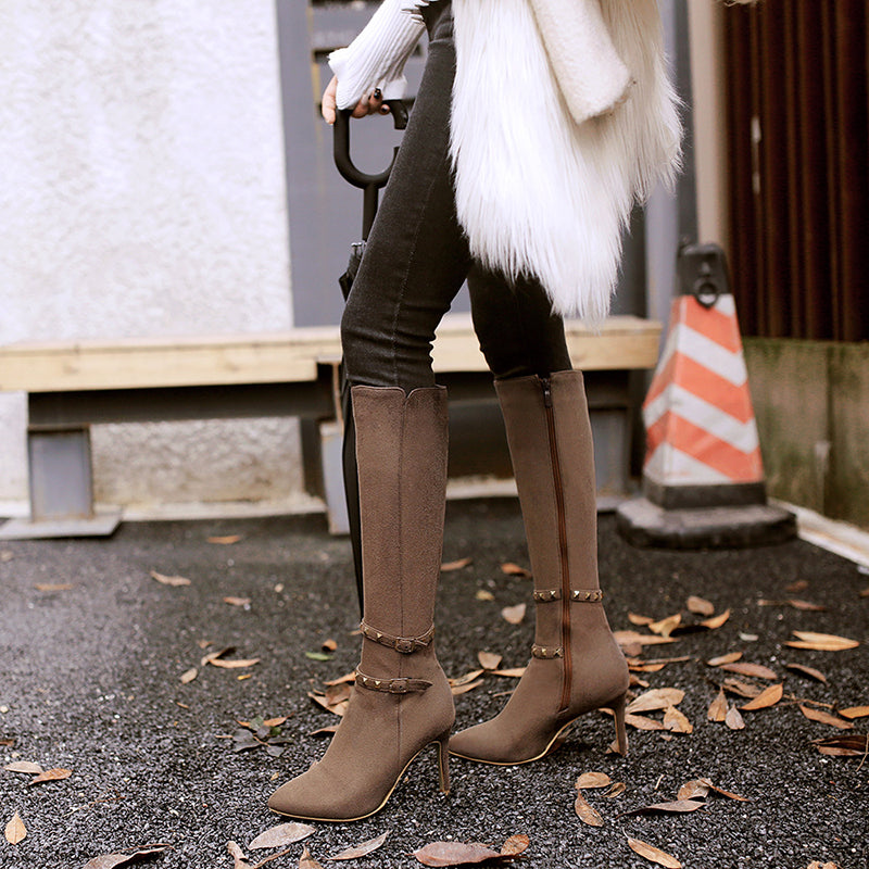 OBBVY-Pointed Stiletto Rivet Belt Buckle Side Zipper Knight Boots
