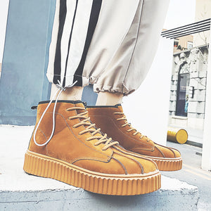 OBBVY-High-top Shoes Shell Shape Toe Box Martin Boots