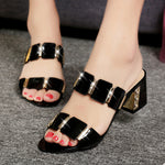 OBBVY-Large Size Fish Mouth Rhinestone Sandals