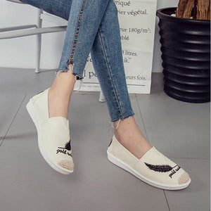 OBBVY-Embroidered Flat Bottom Loafers