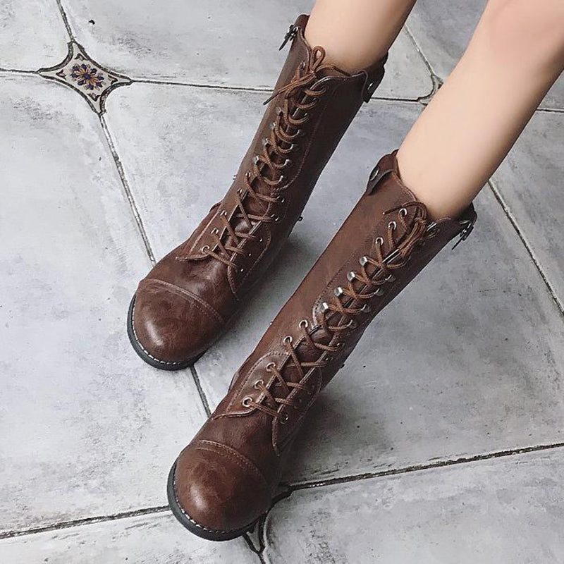 OBBVY-Wipe Square Heels Lace-Up Knight Boots