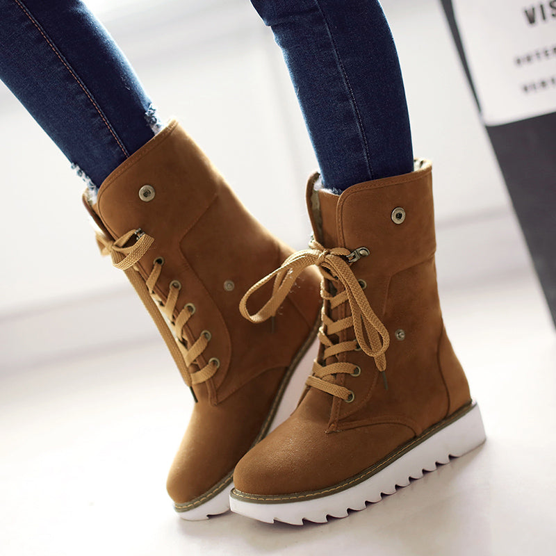 OBBVY-Frosted Round Head Flat Boots