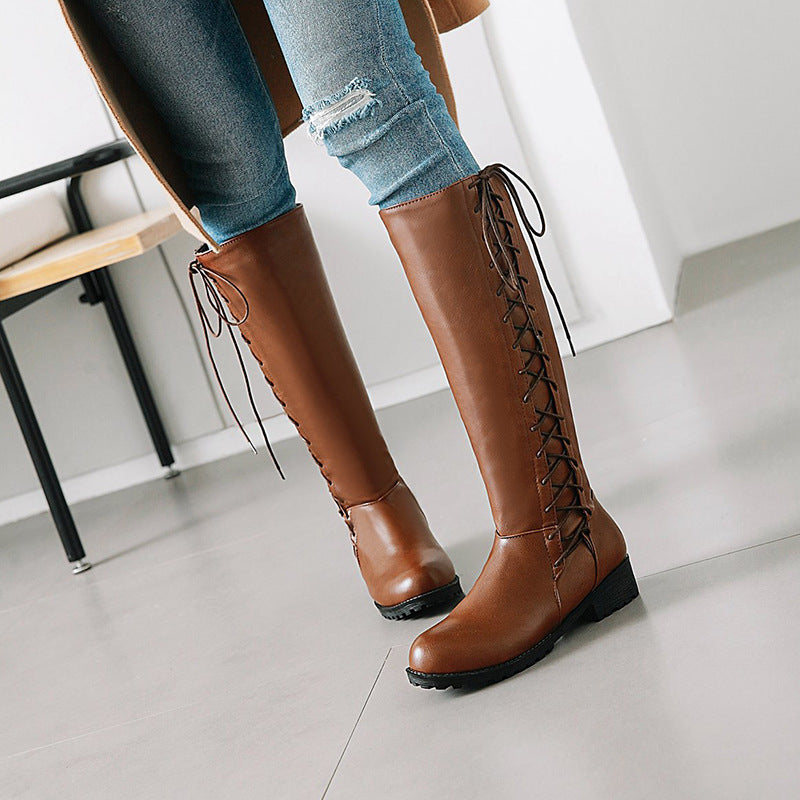 OBBVY-Side Straps Square Heel Long Boots