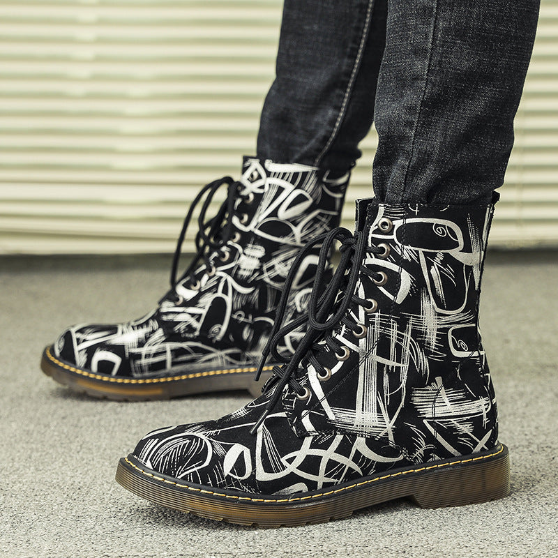 OBBVY-Featured Pattern Martin Boots Size US6-13/EU38-47