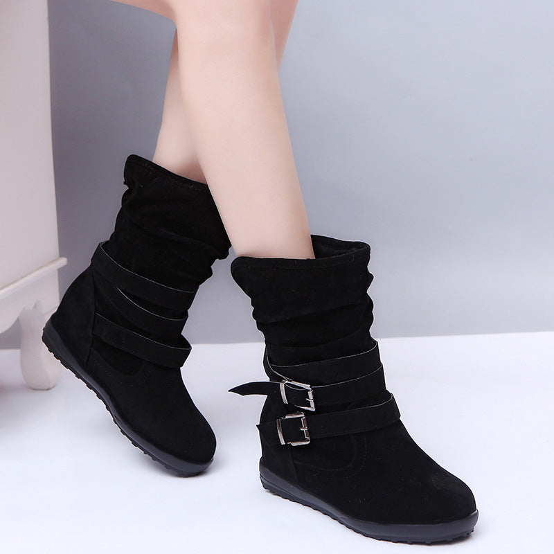 OBBVY-Flat Double Buckle Plus Velvet Boots