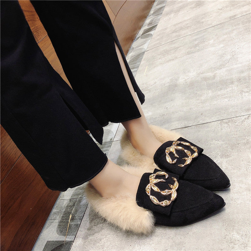 OBBVY-Ladies Winter Pointed Suede Loafers
