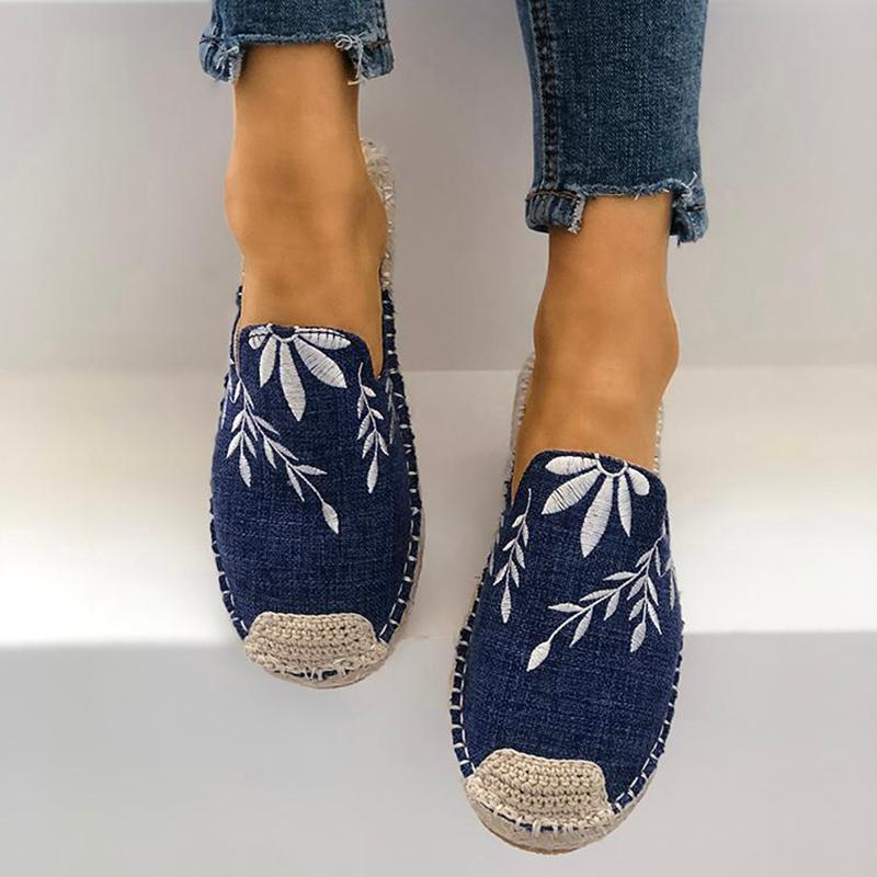 OBBVY-Round Head Hemp Woven Embroidery Slippers