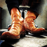 OBBVY-Retro Knight Boots Buckled Boots Size EU39-49