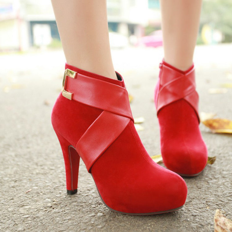 OBBVY-Frosted High Heel Booties