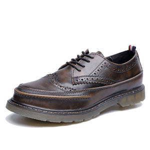 OBBVY-Round Toecap Leather Shoes Retro Boots Size EU35-47