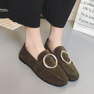 OBBVY-Square Head Flat Bottom Buckle Suede Women's Shoes