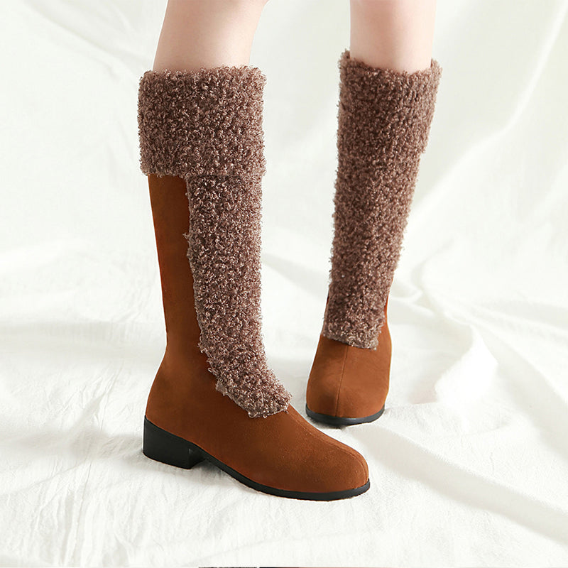 OBBVY-High-heeled Thick Snow Boots