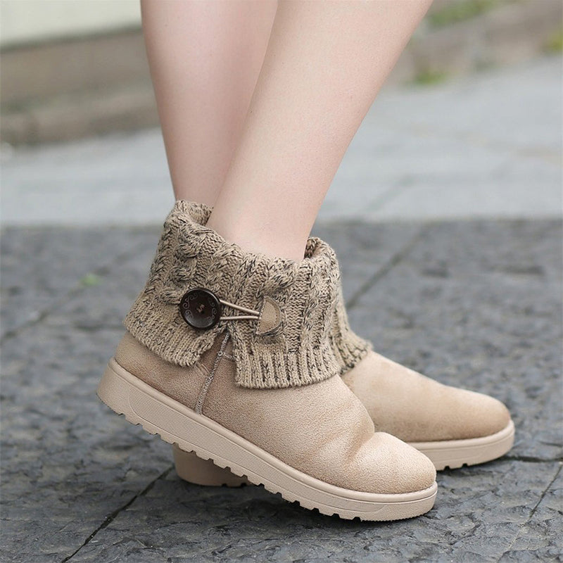 OBBVY-Women's Yarn Button Ankle Boots